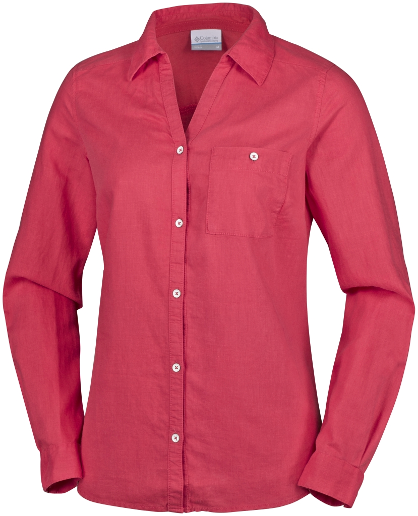 Columbia Coastal Escape Long Sleeve Shirt Sunset Red-30