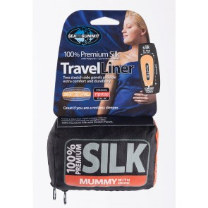 Sea To Summit Silk Stretch Liner Mummy with Hood Navy Blue-20