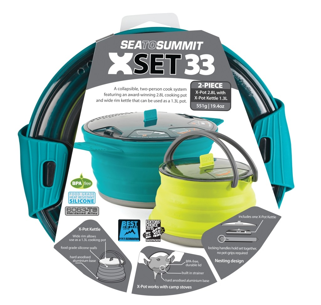 Sea To Summit X-Set: 33 3pc (X-Pot 2.8L, X-Pot Kettle 1.3L)