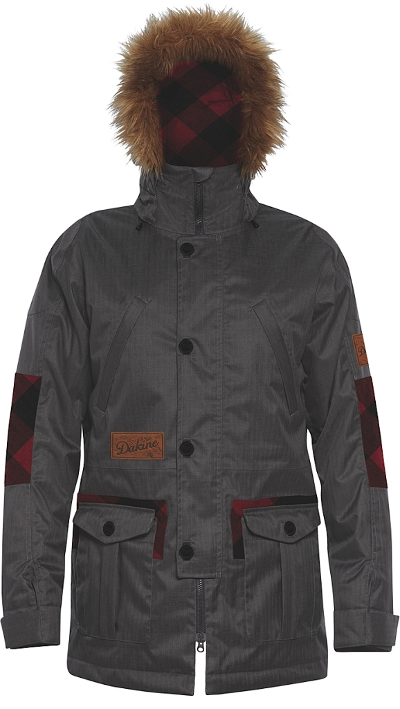 Dakine Mens Westland Jacket Grey Suiting / Red Check-30