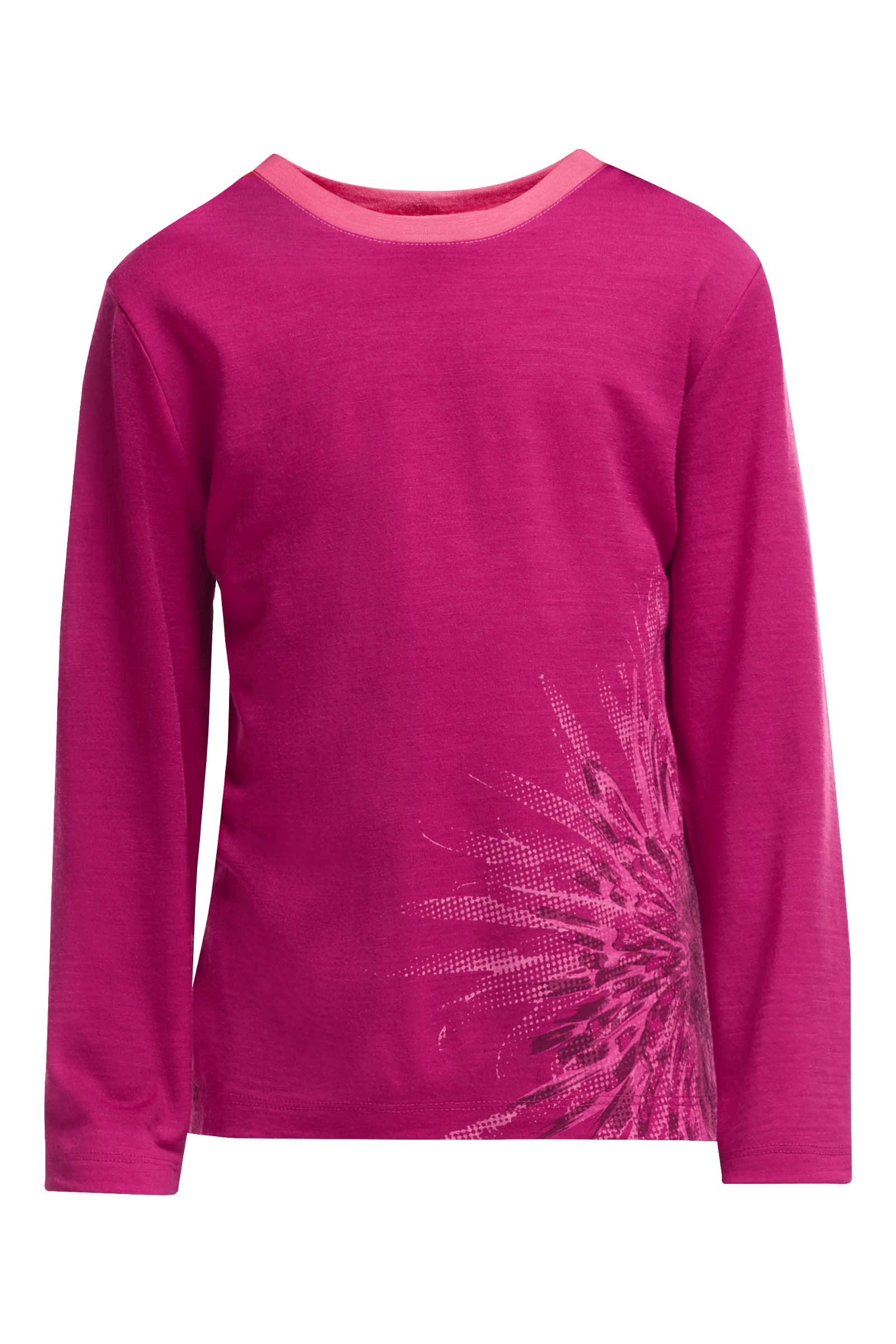 Icebreaker Kids Tech LS Crewe Chrysanthenum Raspberry/Shocking-30