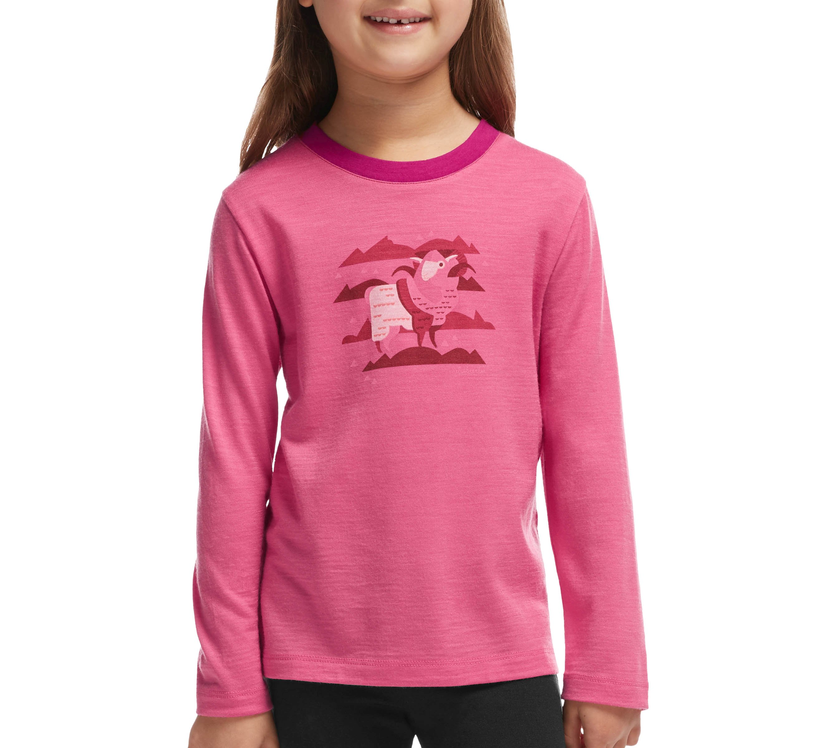 Icebreaker Kids Tech LS Crewe Merino Shocking/Raspberry-30
