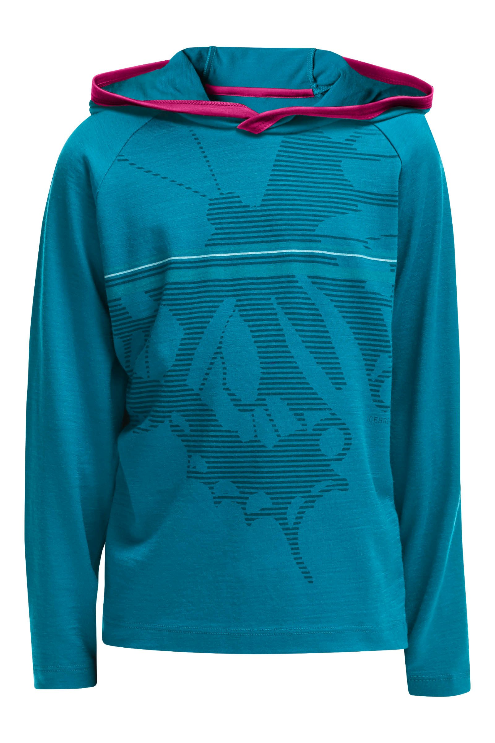 Icebreaker Kids Tech LS Hood Swallow Tail Alpine/Raspberry-30