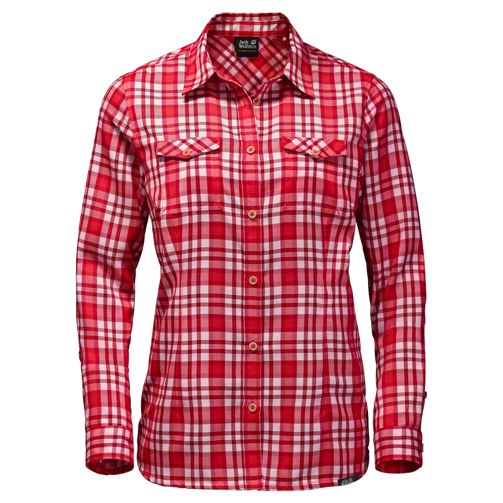 Jack Wolfskin Evan Shirt Women hibiscus red checks-30