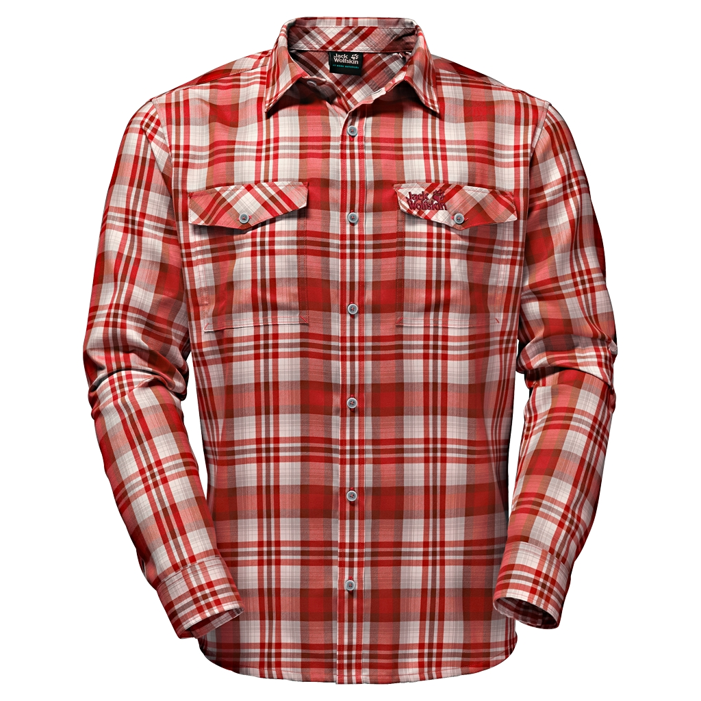 Jack Wolfskin Evan Shirt Men indian red checks-30