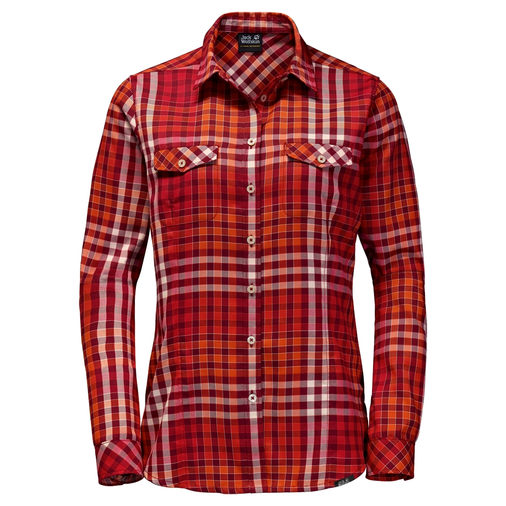 Jack Wolfskin Valley Shirt Women indian red checks-30