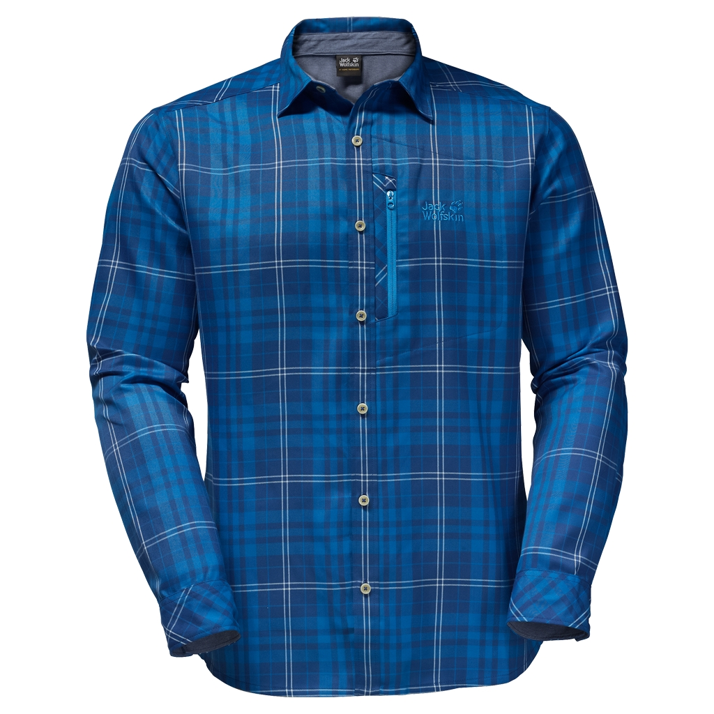 Jack Wolfskin Churchill Shirt deep sea blue checks-30