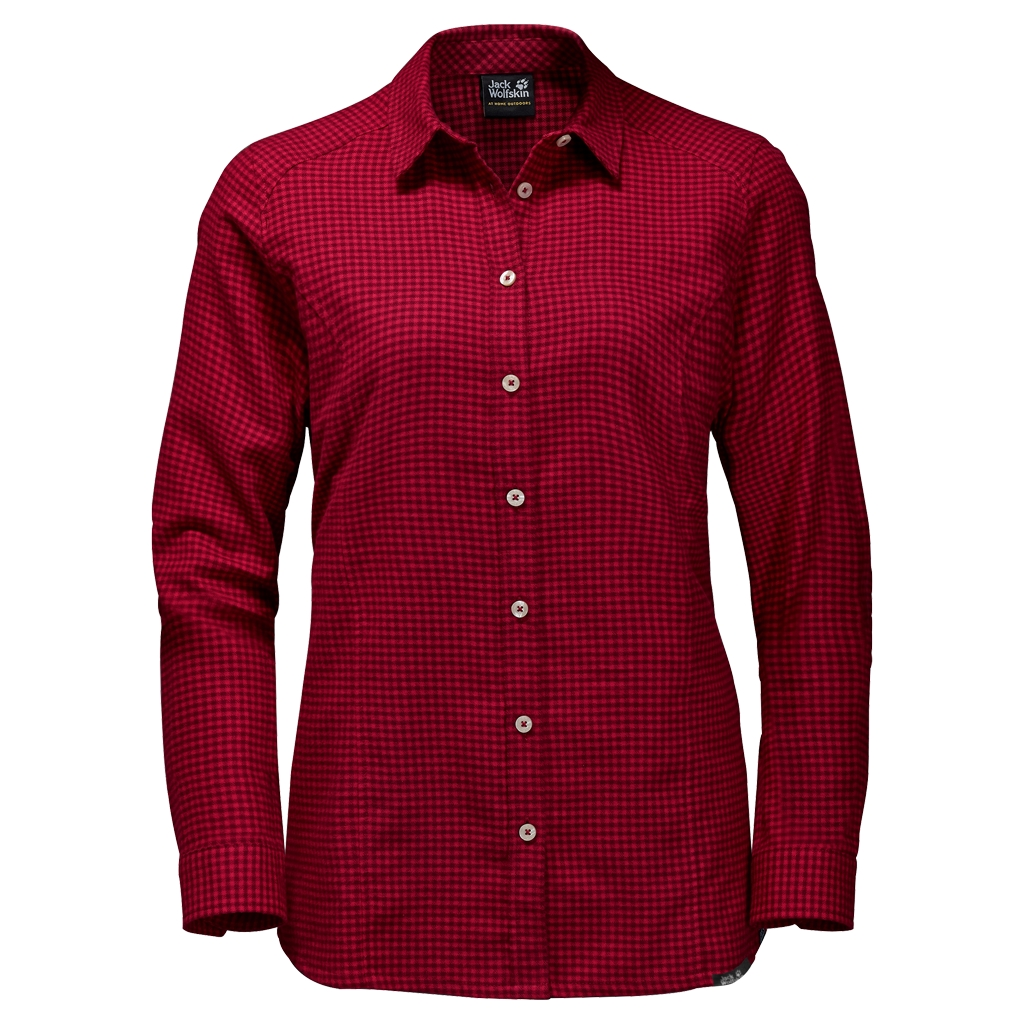 Jack Wolfskin Shore Line Shirt indian red checks-30