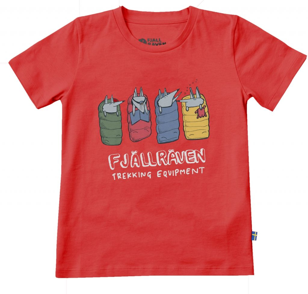 FjallRaven - Kids Sleeping Foxes T-shirt Red - T-Shirts - 128