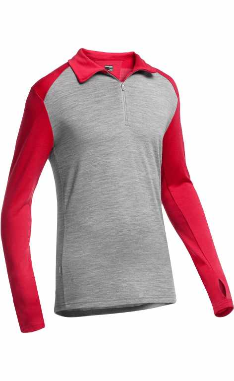 Icebreaker Tech Top LS Half Zip Metro HTHR/Rocket-30
