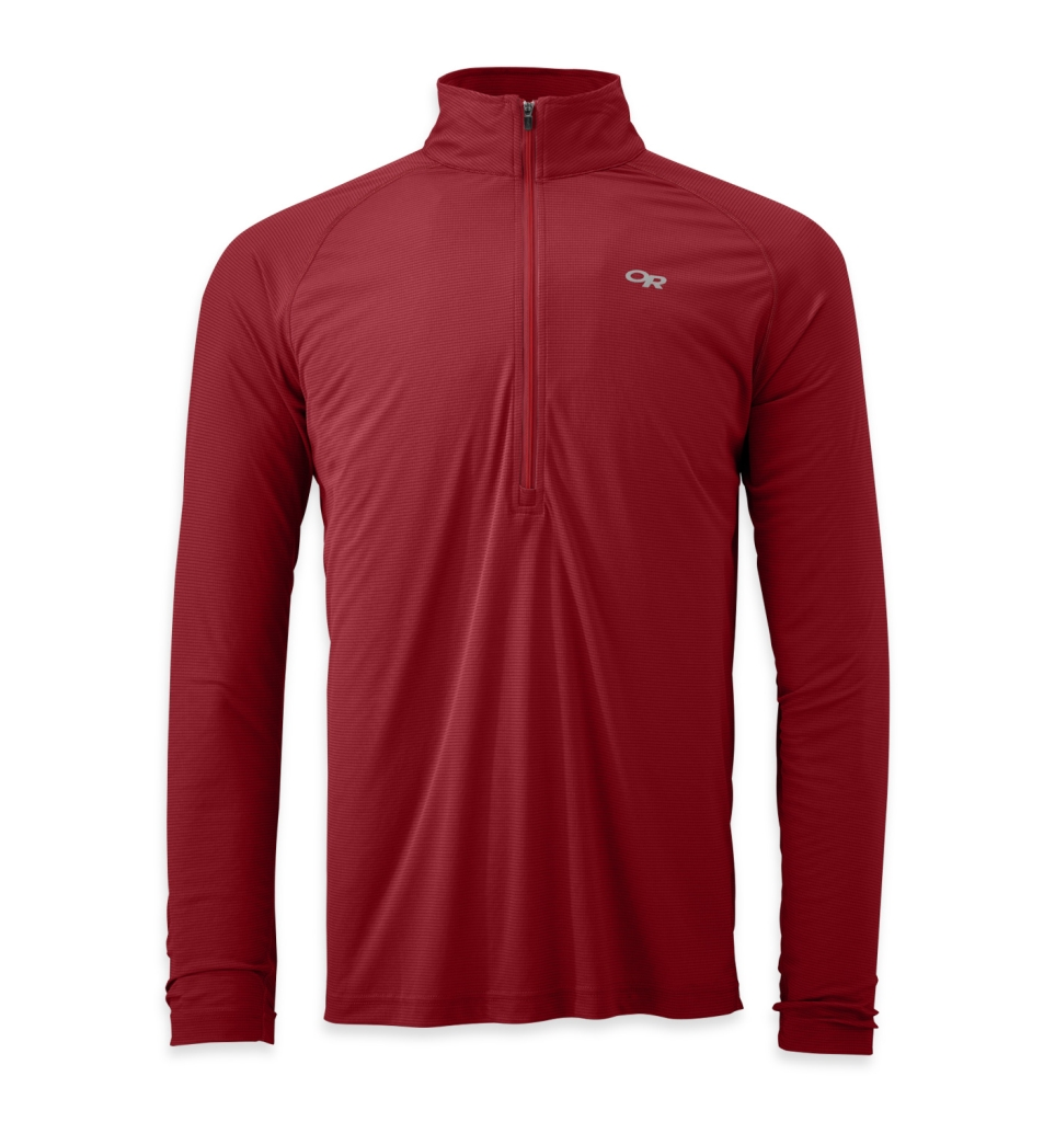 Outdoor Research Men's Echo L/S Zip Tee redwood/hot sauce-30