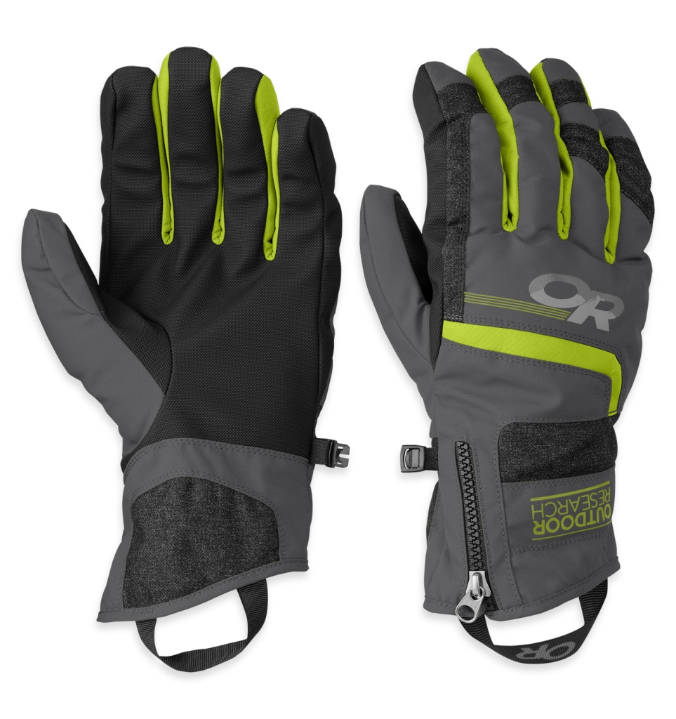 Outdoor Research Men's Riot Gloves Charcoal/Lemongrass-30