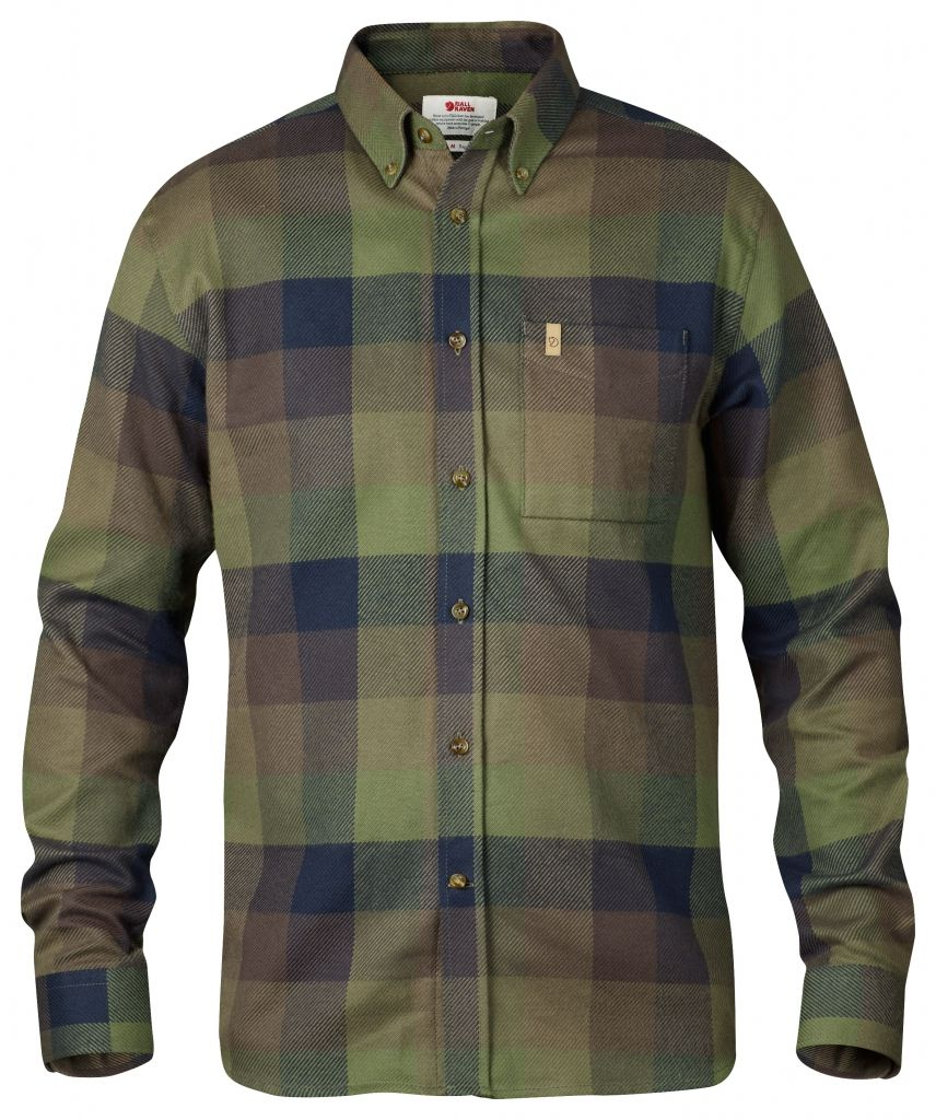 FjallRaven Övik Big Check Shirt LS Dark Olive-30
