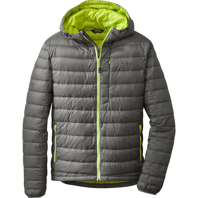 Outdoor Research - Men´s Transcendent Hoody 054-PEWTER/LEMONGRASS - Down Jackets - S