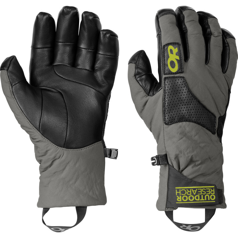 Outdoor Research Lodestar Gloves 26B-PEWTER/BLACK/LEMONGRASS-30