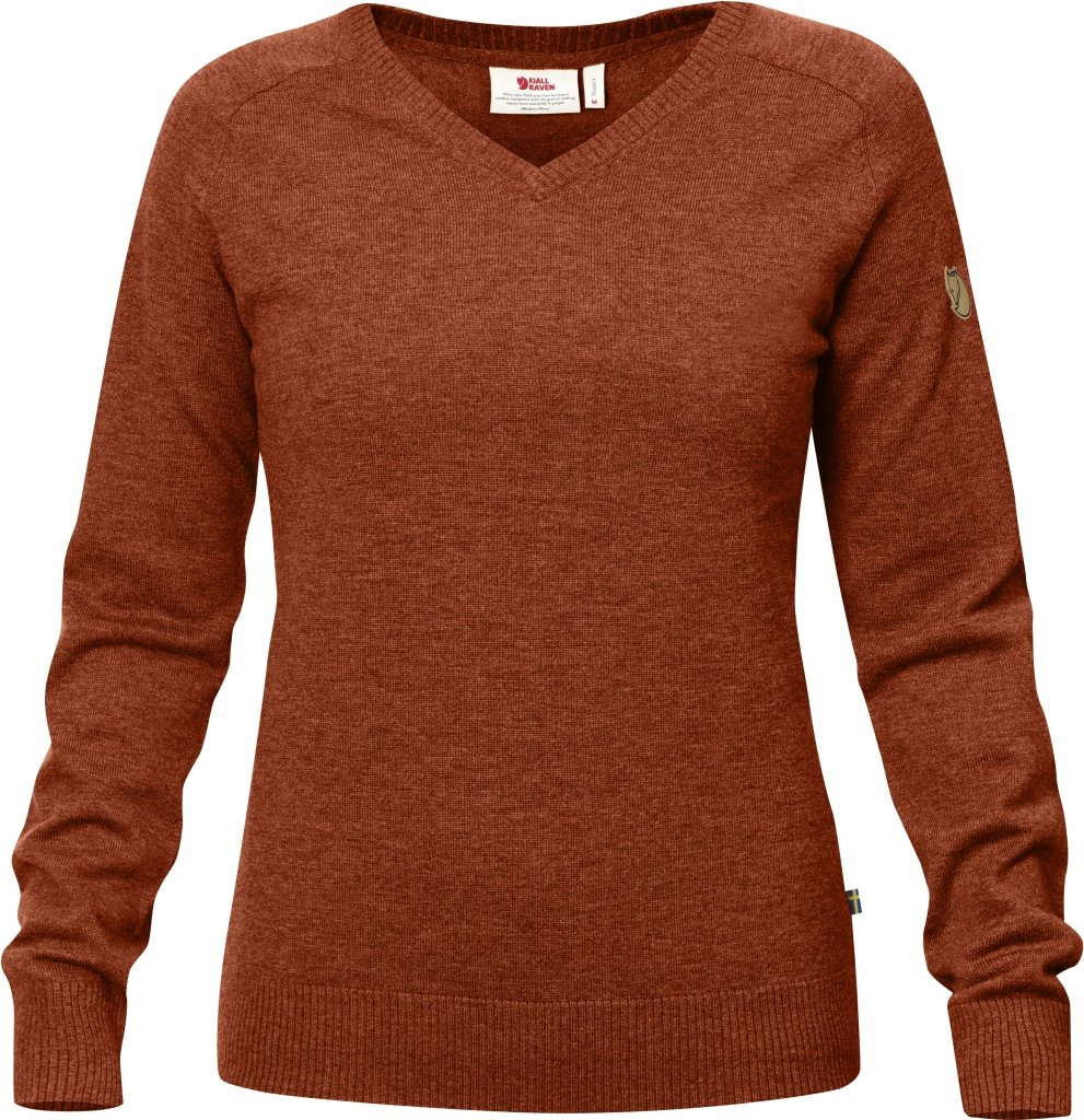 FjallRaven Sormland V-Neck Sweater W Autumn Leaf-30