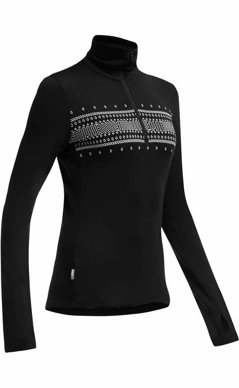 Icebreaker Tech LS Half Zip Fair Isle Black-30