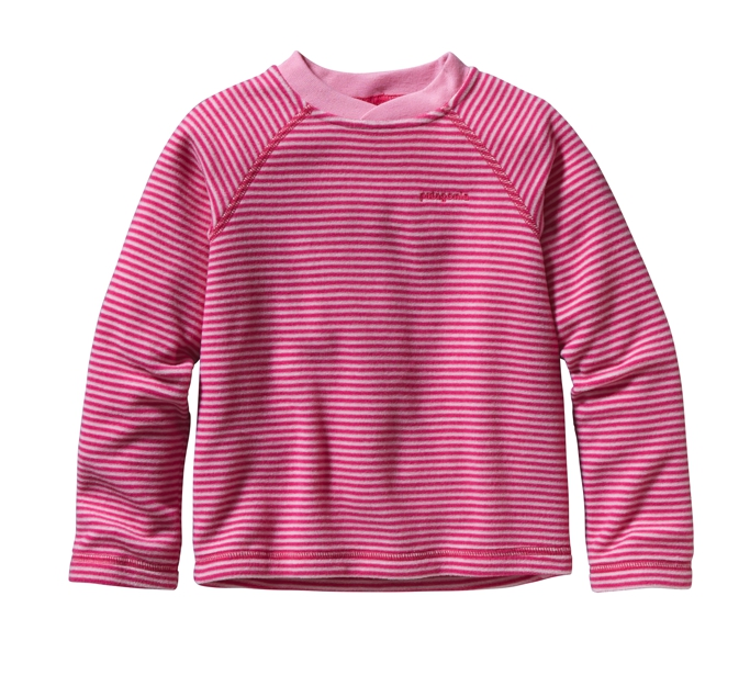 Patagonia - Baby Micro D Crew Jennystripe:  Lt Rosy Posy/Radiant Magenta - T-Shirts - 3M